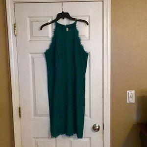 Deep green lace dress
